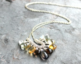 Gemstone Necklace Multi Stone Necklace Briolette Cluster Sterling Silver Citrine Iolite Necklace