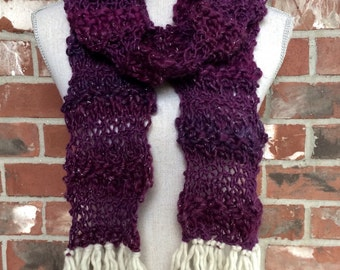 Plum Purple Winter Scarf with Fringe Broken Seed Scarf White Industrial Whimsy