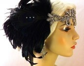 Great Gatsby Headband, Downton Abbey, Art Deco Flapper Headband, 1920s Headpiece, Daisy Buchanan, 1920s Flapper, Black and Silver Headband