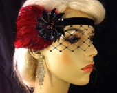 Gatsby Headband, Flapper Headband, Downton Abbey, 1920s Head Piece, Art Deco Headband, Wine and Black, Soft Velvet Ties