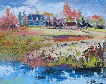 Original oil painting, landscape painting, Canadian landscape, Island of Orleans, palette knife art,impressionism art, home decor
