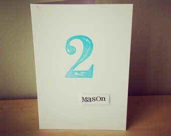 2nd Birthday Card  x  hand stamped with retro style numbers x  personalised with name or phrase of your choice.