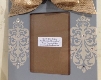 Hand Painted Grey and Burlap Frame