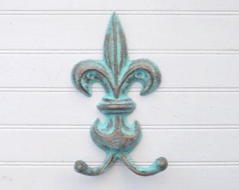 Patina / Decorative Hook / Cast Iron Hook / Fleur De Lis Hook / Fleur De Lis Decor