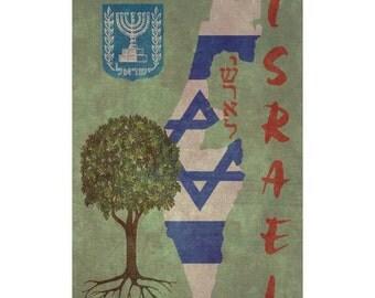 ISRAEL 1F- Handmade Leather Passport Cover / Travel Wallet - Travel Art
