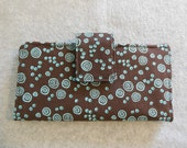 Fabric Wallet - Brown With Teal Circles
