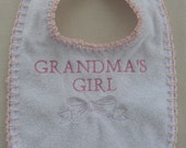 Grandms's Girl Baby Bib with Emboidery and crochet edge, With a Pink Embroidered Bow