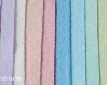 "Pastels Felt Collection 6"", 9"" OR 12"" Squares 10 Shades - Wool Blend Felt - Felt Bundle"
