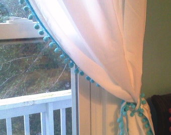 White Curtain with Sky Blue Pom Pom Tassel trim