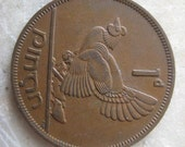 1952  Ireland, 1 Pingin Bronze Coin, Clairseach and Hen with Chicks