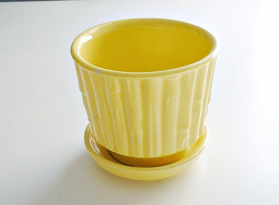 Vintage McCoy Pottery Flower Pot  Bambo Yellow  Planter  0372  Home and Garden Decor