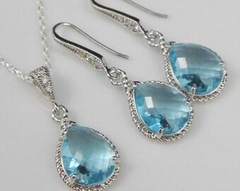 Aquamarine Bridesmaid Jewelry   Blue Bridesmaid Jewelry   Aquamarine Wedding Jewelry   Blue Wedding Jewelry   Bridesmaid Necklace   Gift