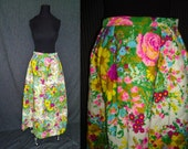 SUPER SALE Quilted Garden Party Floral Vintage 1970's Maxi Skirt XS S
