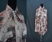 Funky Floral Western DISCO Vintage 1970's Mens Cowboy Snap Shirt XS S