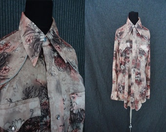Funky Floral Western DISCO Vintage 1970's Mens Cowboy Snap Shirt XS S