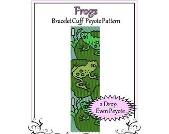 Bead Pattern Peyote(Bracelet Cuff)-Frogs
