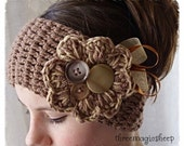 Crochet Flower Headband headwrap - Adult size - brown