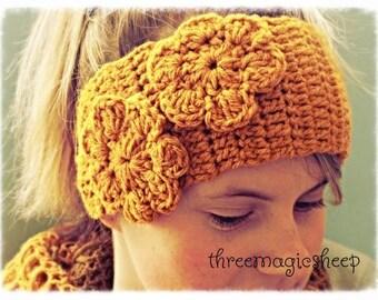 Crochet Flower Headband head wrap earwarmer - adult size - mustard