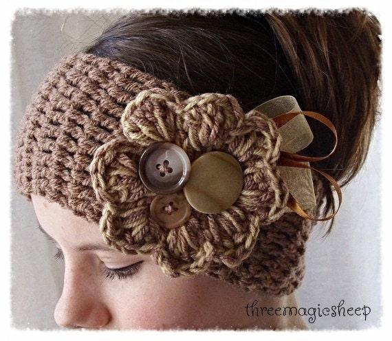 Crochet Flower Headband headwrap - Adult size - brown