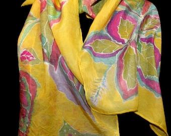Coleus Plant Silk Scarf Hand painted