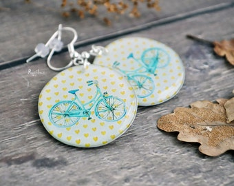 Mint bicycle earrings -  white yellow hearts, summer earrings, travel earrings, resin jewelry, gift idea for her - made to order