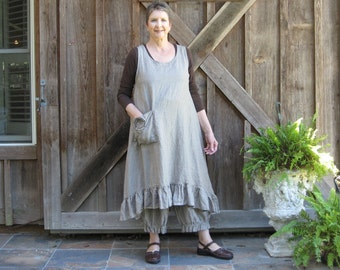 linen jumper pinafore apron dress in cocoa brown/natural stripe ready to ship