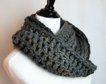 Cowl, Infinity Scarf, Hand Crocheted, Baby Alpaca, Acrylic, Wool Blend Yarn, Charcoal, Taupe, Warm, Reversible, Handmade, Original Design