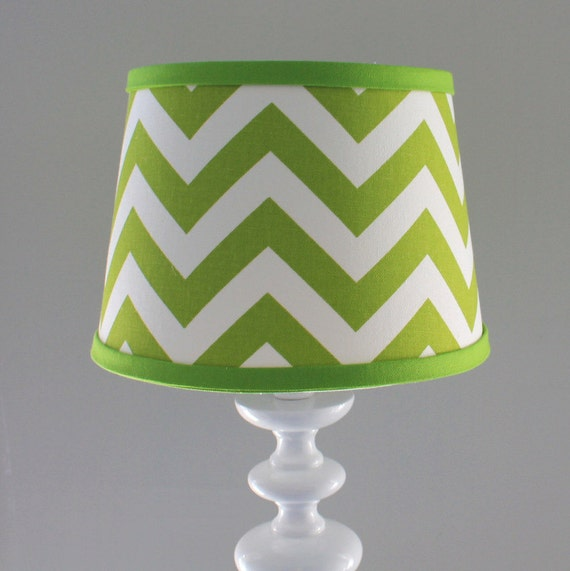Small White and Lime green Chevron lamp shade. Other colors