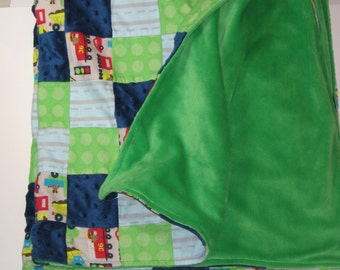 Large Baby Boy Blanket, Minky Baby Blanket, Firetruck Blanket, Toddler Blanket, Patch Blanket, Cars, Construction, Baby Boy Gift, RTS