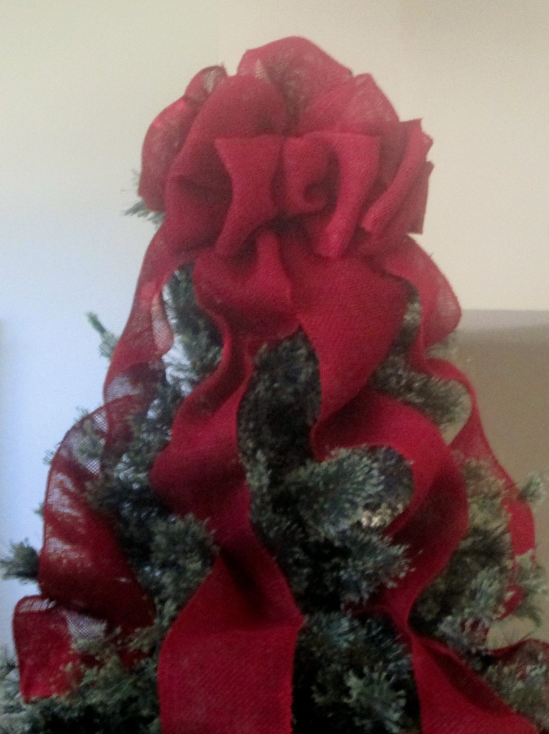 Red Burlap Christmas Tree Topper Bow With Streamers Burlap