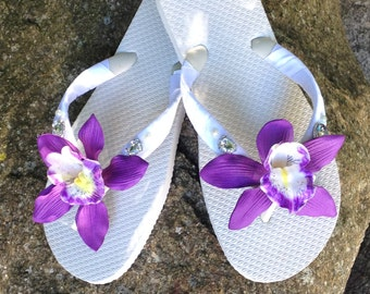 Bridal Flip Flops.Wedding Flip Flops/Wedges.Hawaiian Wedding Accessories.Beach Wedding.Flower Flip Flops.ALL COLORS Avail