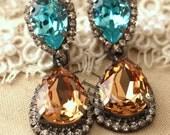 Aquamarine Turquoise Amber Topaz Chandelier earrings, Champagne statement earrings, Bridal Topaz dangle earrings, Swarovski chandeliers