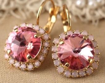 Pink drop earrings, Pink Opal Swarovski earrings, Cotton Candy Pink earrings, Bridesmaids earrings, gift for women, Bridal Blush earrings