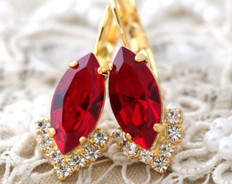 Ruby Red earrings, Swarovski Ruby Red Drop earrings,Red Ruby Dangle Earrings, Red Ruby drop earrings delicate earrings Bridesmaids gifts