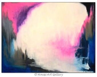 LARGE ORIGINAL Acrylic Abstract Painting, Modern Contemporary Canvas Art, Textured Metallic, Pink Purple Gray Grey Indigo Blue White 40 x 30