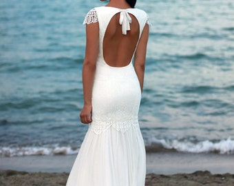 Bohemian Wedding Dress, Beach Wedding Dress, Lace Wedding Dress, Silk Ciffon Gown