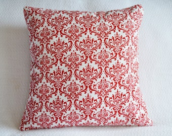 Valentine Red and White Damask Premier Prints Pillow Cover 18x18