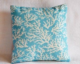 CLEARANCE!! Ocean, Aqua Blue, Nautical, Coral pillow cover 16x16