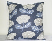 Blue and White Linen Modern Floral 18 inch Decorative Toss Pillow Cushion Cover