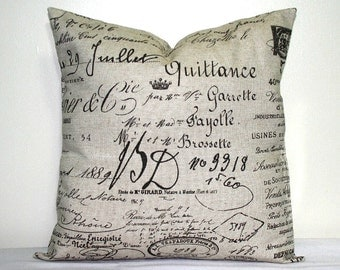 Brown Script 18x18 inch Pillow Cover, French Word Pillow, Accent Pillow, Throw Pillow
