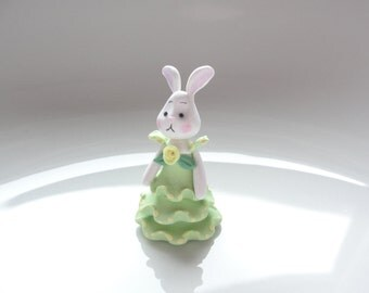 Polymer clay dressed doll miniature white rabbit in green dress for 1/4 scale dollhouse