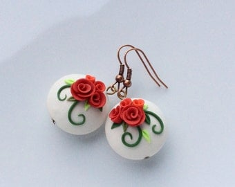 Red rose earrings, polymer clay earrings, shabby rose earrings, wedding earrings, bridesmaid earrings, 50's style earrings
