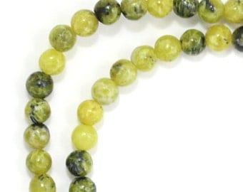 "Yellow ""Turquoise"" Serpentine Beads - 4mm Round"