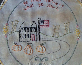 Autumn Harvesst Primitive Simple stitchery on Vintage linen