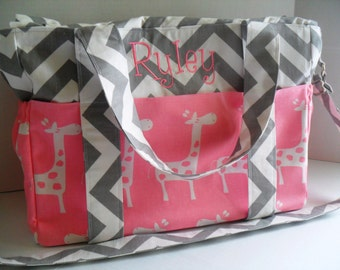 Extra Large Diaper Bag -Pink Giraffe - Chevron Diaper Bag - Elastic Pockets - Diaper Bag - Messenger Bag - Tote Bag - Personalized