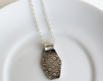 Simple, Petite Patterned Fine Silver Pendant with Sterling Silver Chain