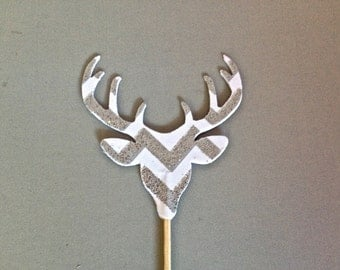 12 Silver Glitter Chevron Deer Head With Antlers Cupcake Toppers
