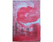 Chicago Skyline in Red and Blue: pulp painting on handmade bamboo paper (2014), Item No. 155