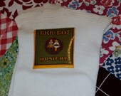 Antique Dick and Dot Hosiery Cotton Stockings, Taubel Bro's Size 10, Paper Label, Old Store Stock