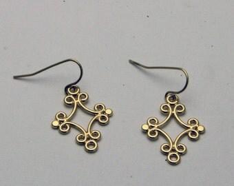 Vintage  Brass  Form Earrings